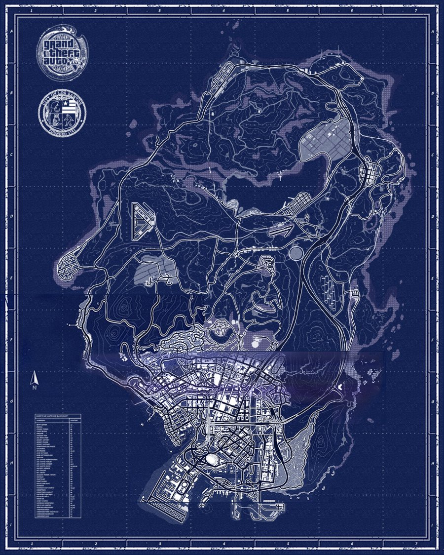 Grand theft auto v fan made map representations its nearly 1000 pages long and is packed full with gta v map content landmarkbuilding analysis and screenshottrailer comparisons malvernweather Images